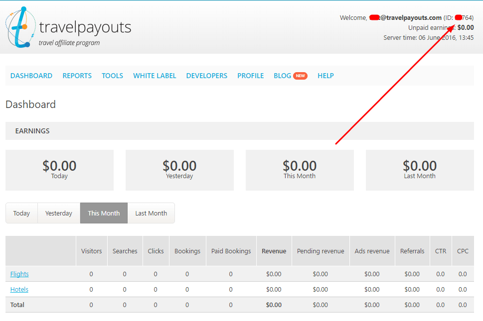 Travelpayouts Dashboard Marker