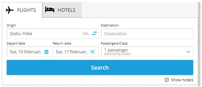 Hotels and flights forms