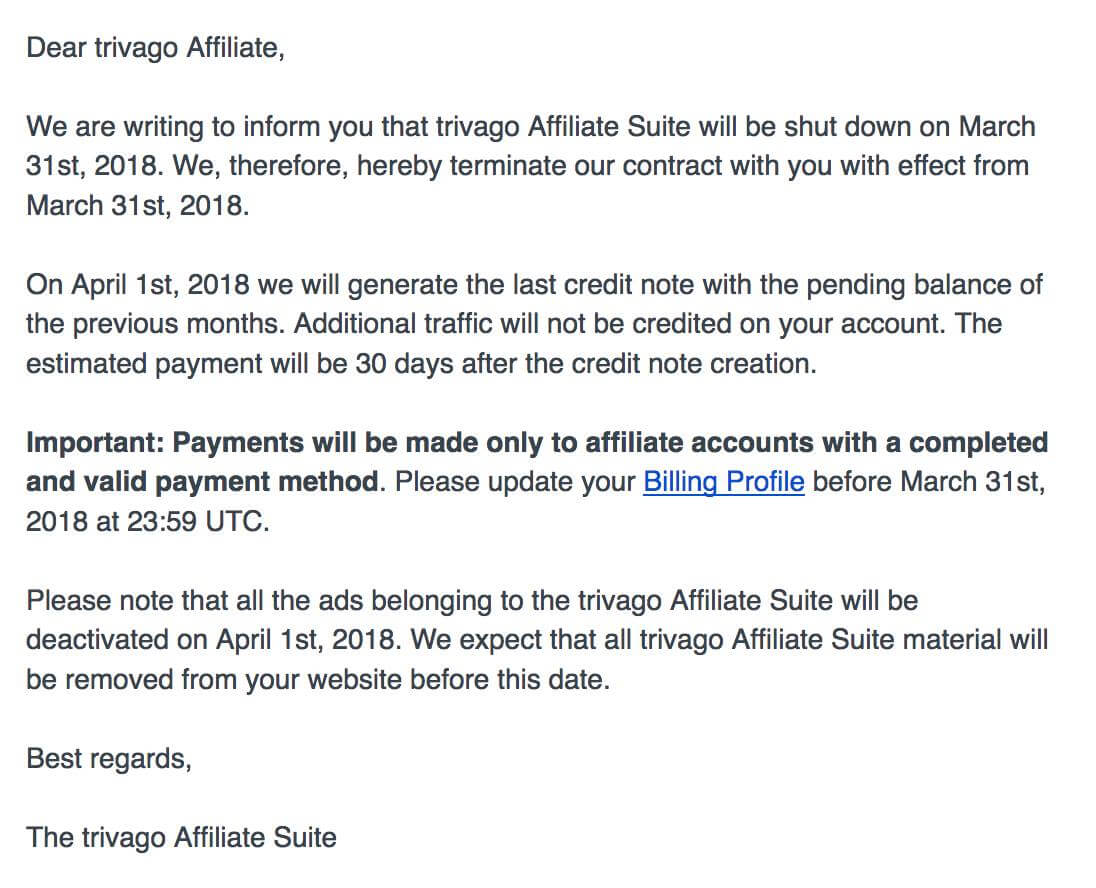 Email from Trivago Affiliate Suite