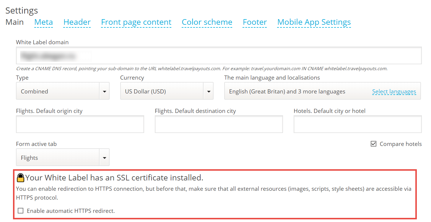 HTTPS redirection for White Label projects