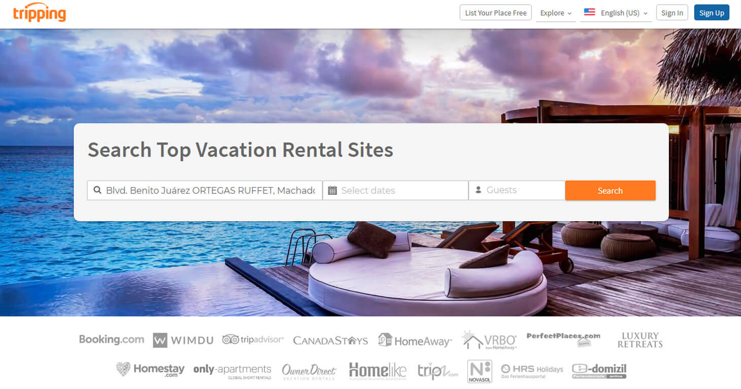 New offer: Tripping.com – vacation rentals around the world