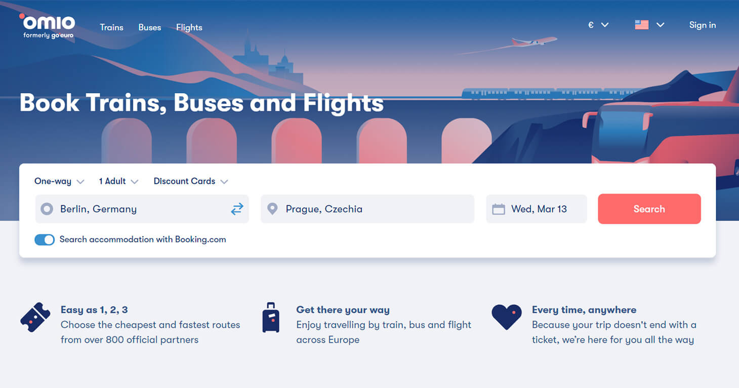 Omio — flight, train and bus tickets affiliate program