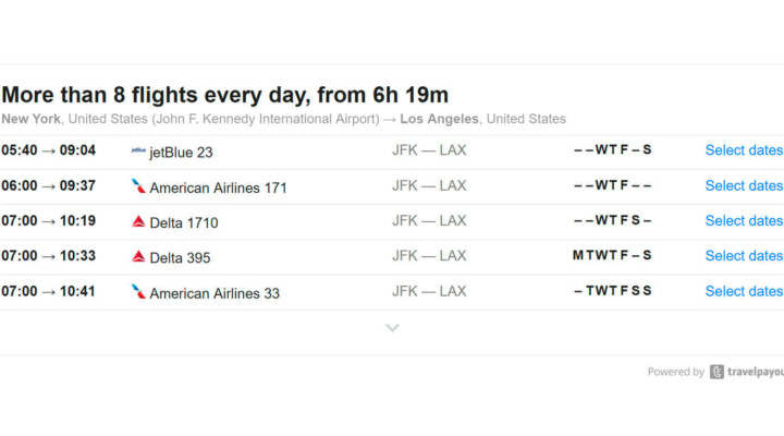 New tool: The flight schedule widget
