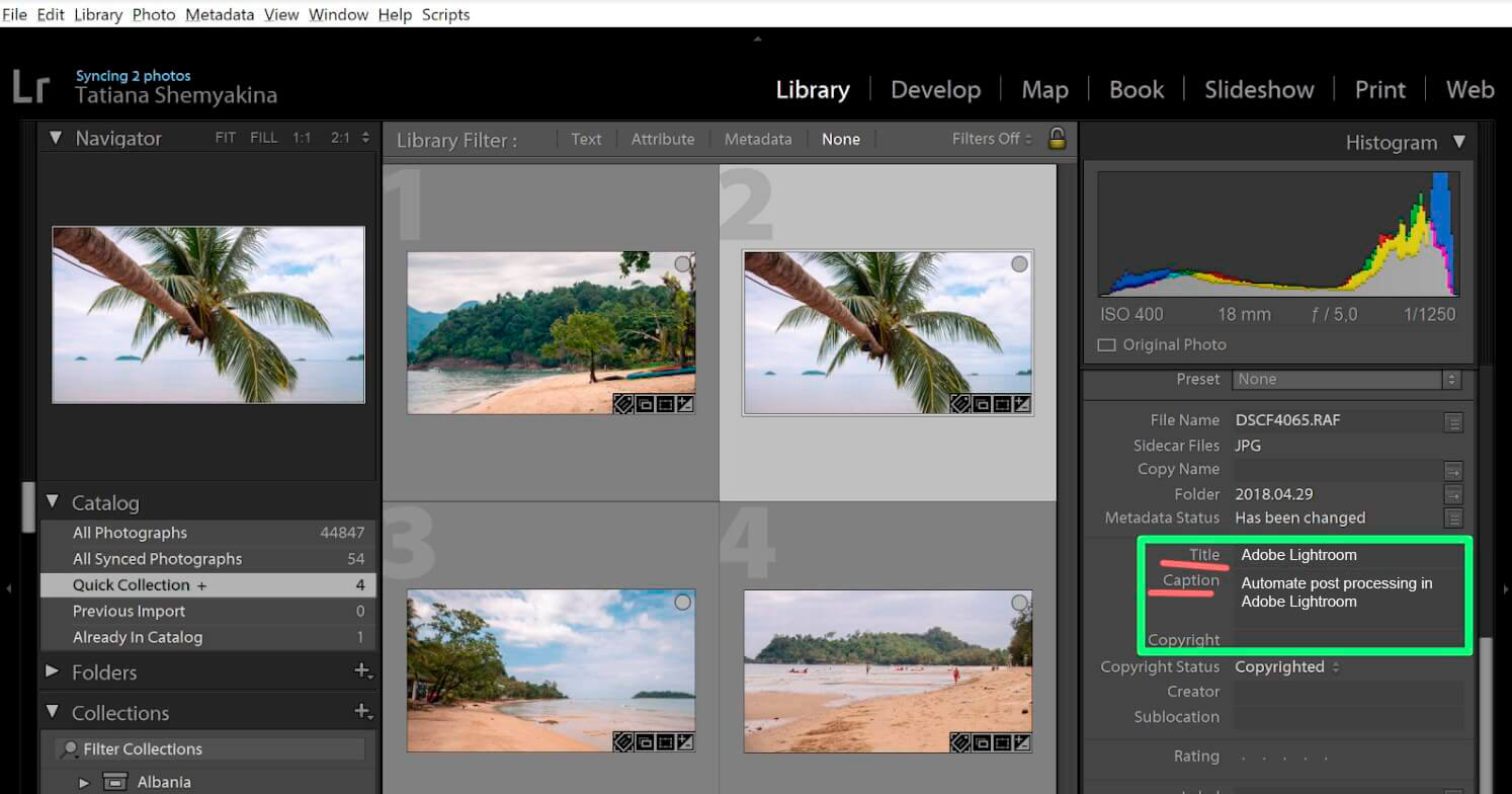 Automate post processing in Adobe Lightroom