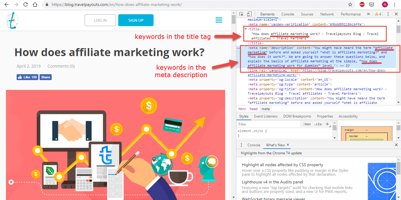 Title tags and meta description