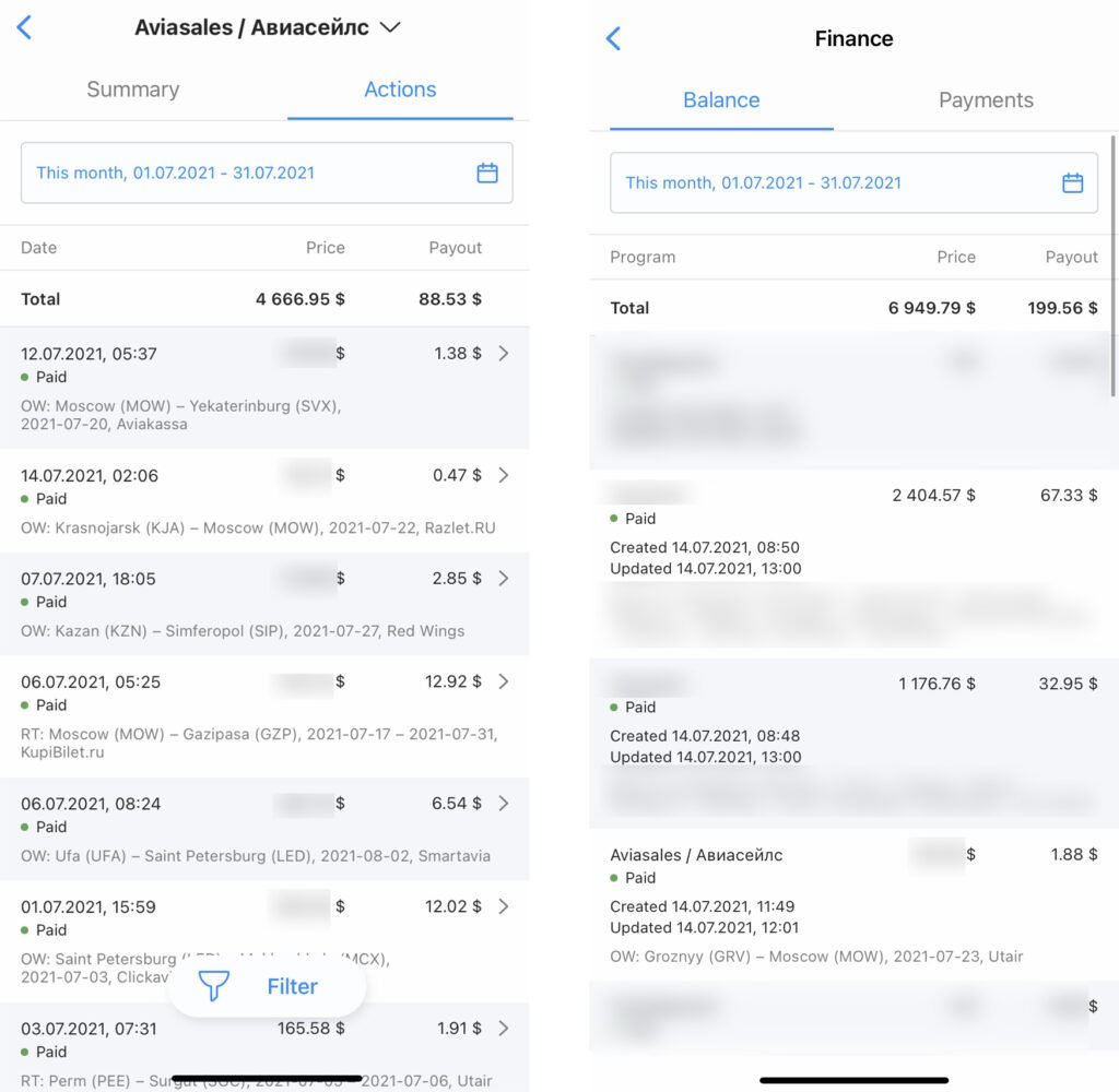 Travelpayouts app finance section