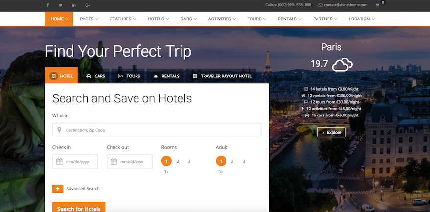 Traveler - Travel:Tour:Booking WordPress Theme